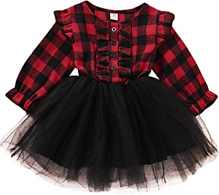 Girls' Suit Check Mesh Ruffle Dress Red and Black White Plaid Long Sleeve One Piece Fluffy Skirt with Belt