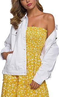 Tsher Women's Oversize Vintage Washed Denim Jacket Long Sleeve Classic Loose Jean Trucker Jacket D003