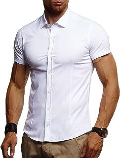 Herren weißes Hemd Slim Fit Kurzarm Schwarzes Männer Stretch Kurzarmhemd Freizeithemd Jungen Kurzarmshirt Sommerhemd Business T-Shirt Freizeit Party LN3520