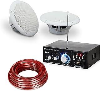 electronic star Equipo de Sonido HiFi para terrazas y baños - Amplificador HiFi, 2 Altavoces de Dos vías Resistentes al Agua de 35 W, 2 cales de Altavoz 10m, Sistema protección IP44, Blanco