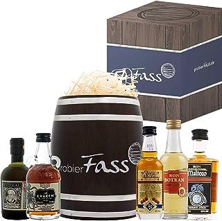 Rum Männer Geschenk   5 besondere Rum Spezialitäten 5 x 0.05 l in einem Fass mit Geschenkverpackung   Rum Set