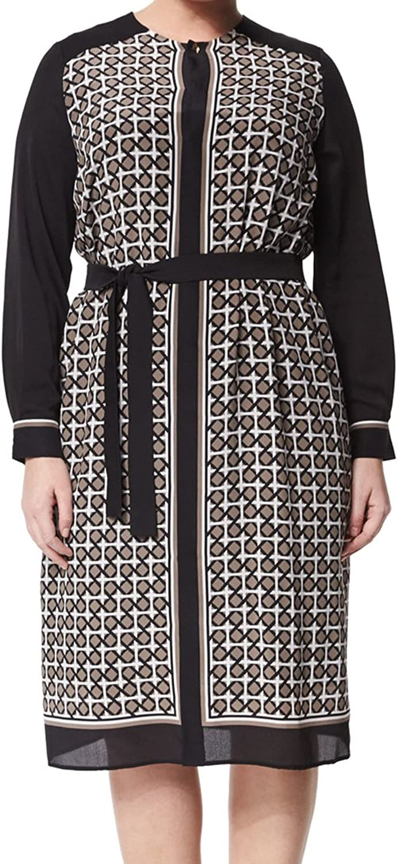 Marina Rinaldi Women's Damiere Print Long Sleeve Dress Multicolor