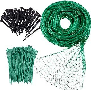 Garden Netting Anti Bird Protection Net 4M x 10M / 13Ft x 33Ft Green Garden Plant Netting Fruit Trees Netting with 20 Tack...