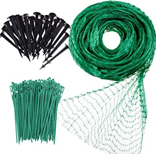 Garden Netting Anti Bird Protection Net 13Ft x 33Ft Green Garden Plant Netting Fruit Trees Netting with 20 Tacks and 50 Ties