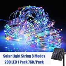 woohaha Solar String Lights, 200 LED Copper Wire Lights, Waterproof Fairy Decoration Starry String Lights - 8 Modes, Indoor/Outdoor for Gardens, Patios, Homes, Parties, Multi Color 1 Pack