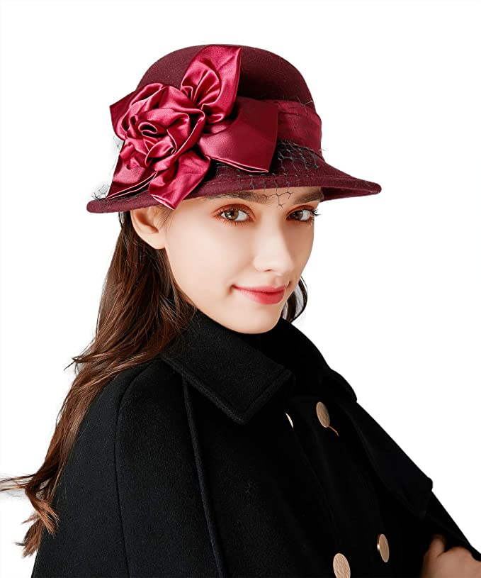 1920s Fashion & Clothing | Roaring 20s Attire Bellady Women Solid Color Winter Hat 100% Wool Cloche Bucket with Bow Accent  AT vintagedancer.com