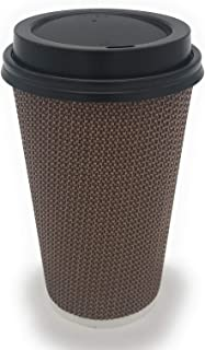 [85 SETS] 16 oz Disposable Double Walled Hot Cups with Lids – No Sleeves needed..