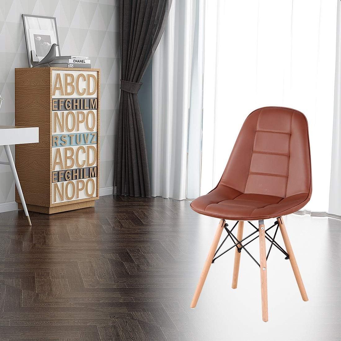 Luckeu Lot de 4 chaises de salle à manger en cuir avec pieds en chêne massif Marron Marron