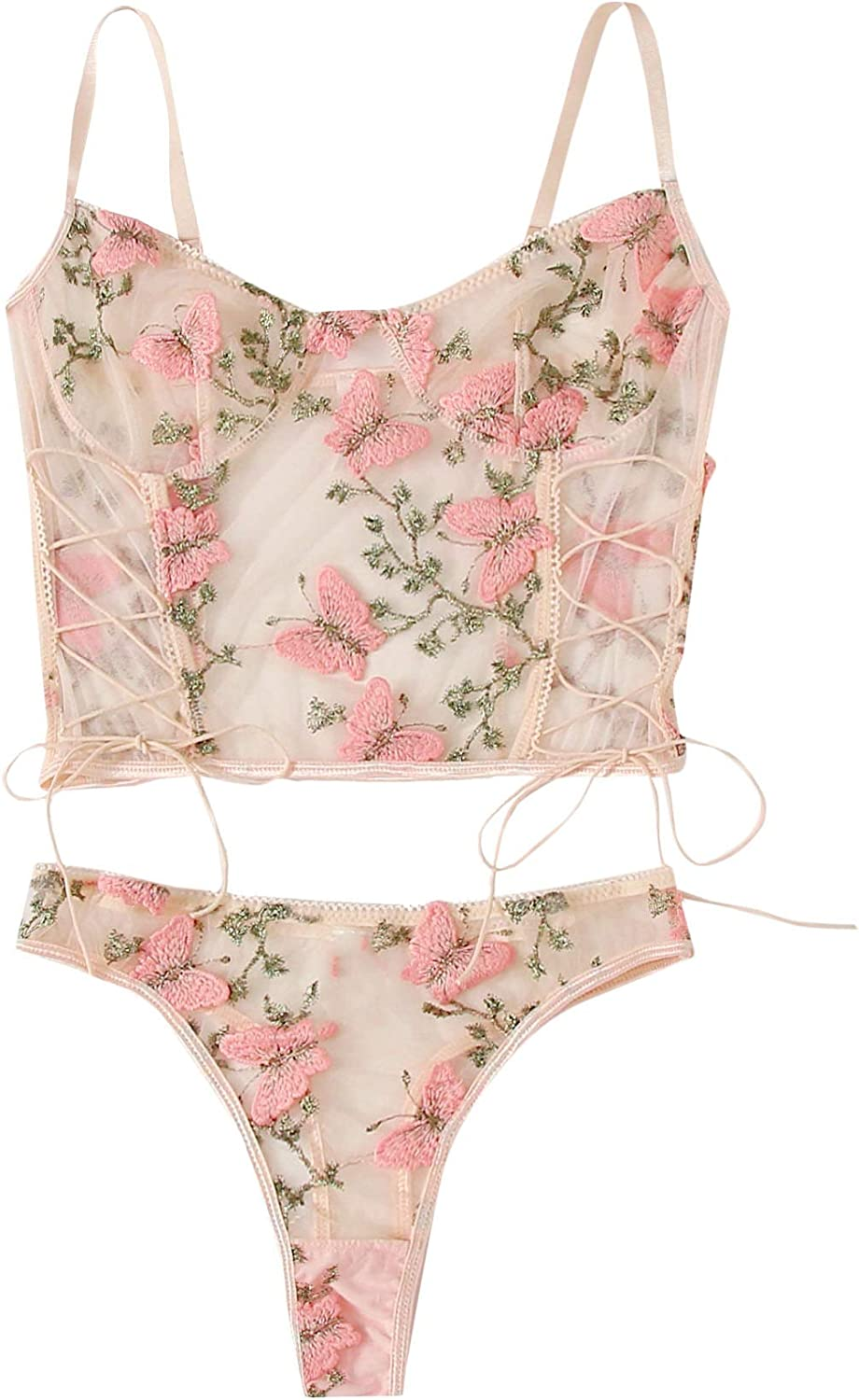Special price for a limited time SheIn Women's Butterfly Pattern Embroidery Sexy Mesh half Lo Lingerie