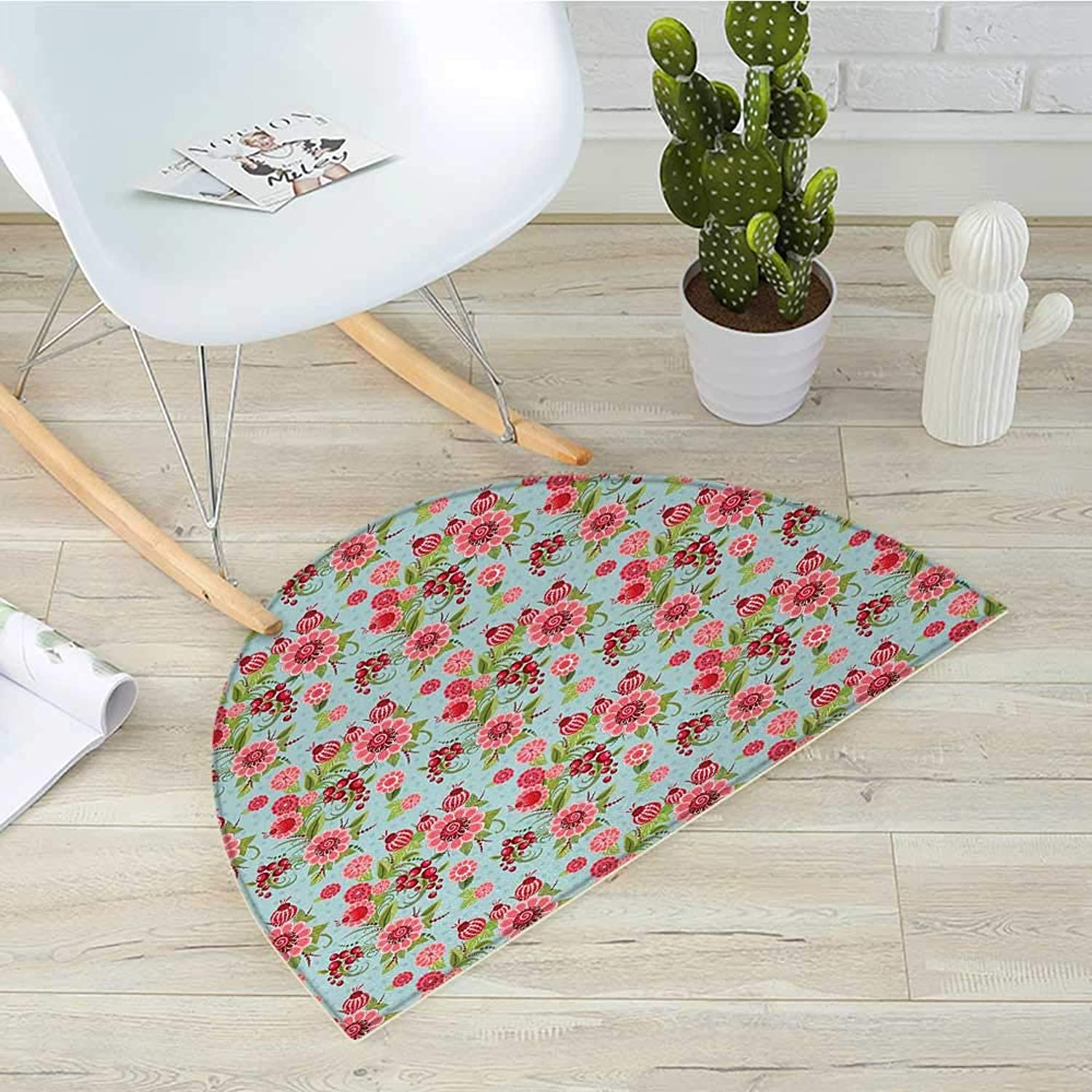 Flower Semicircle Doormat Tribal Eastern Oriental Botanic Flower Buds and Floral with Leaves Natural Print Halfmoon doormats H 39.3  xD 59  Pink and bluee