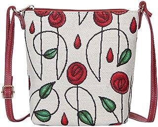 Red and White Mackintosh Rose Sling Bag by Signare/Ladies Unique Designer Floral Art Over-The-Shoulder Crossbody Handbag/S...