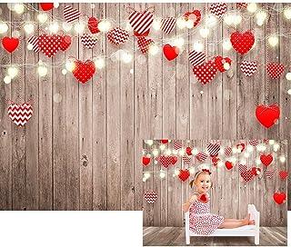 Maijoeyy 2,1 x 1,5 m Valentinstag Hintergrund Liebe Thema Hintergründe für Fotografie Rustikale Holzwand Valentine Romantische Kulisse für Fotoshooting Fotografie Requisiten