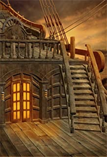 LFEEY 8x10ft Fantasy Pirate Ship Background Fairyland Cloudy Wooden Staircase Rudder Locker Boat on The Sea Photo Backdrop Portrait Travel Photography Props Wallpaper Drape