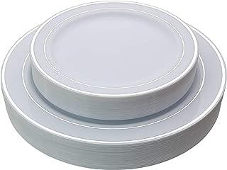 Exquisite Reflective (Silver Line) Plastic Plates-60 Peices Premium Heavyweight Plastic Dinnerware (30-10.25