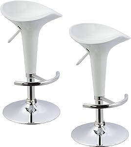 Duhome Juego de 2 taburetes de Bar de plástico Blanco Ajuste de Altura seleccion de Color 103