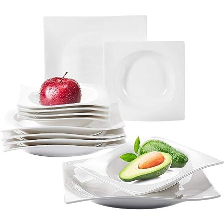 vancasso, Série Lolita, Service de Table en Porcelaine Blanche, Assiette Plate, Assiette Creuse, Assiette à Dessert