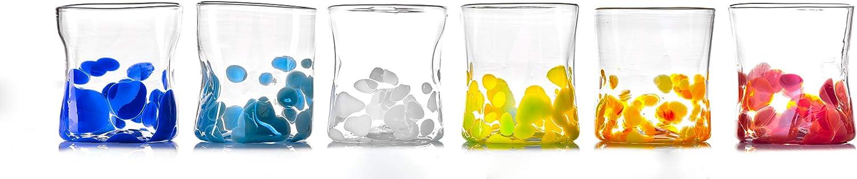 GOTO Juego 6 Vasos Coloreados Vidrio de Murano 300 mililitros, Hechos a Mano por un Maestro Vidriero Veneciano (Colección Mirò)