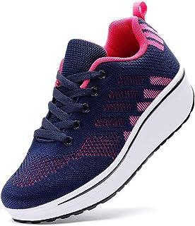 WUIWUIYU Femmes Baskets Compensées Chaussures de Sport à Lacets Sneakers