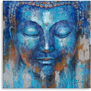 Buddha Wall Art Canvas Painting Indigo Blue Gautama Head Picture Zen Meditation Buddhism Statue Decor for bathroom Framed Easy to Hang (14