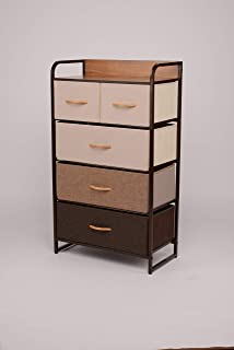 ORAF Vertical Tall Dresser Storage Chest with 5 Drawers - Sturdy Steel Frame Wood Top Furniture Dresser Organizer for Bedroom,Dorm,Hallway, Entryway, Small Space, Easy Pull Fabric Bins,Multi/Espresso