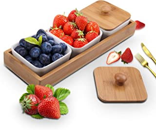 Ceramic Snack Serving Tray,3-Compartment Serving Tray with Bamboo Lid and Pallets,Moisture-proof Bowls for Food,Snacks,Condiments, Appetizers(White)