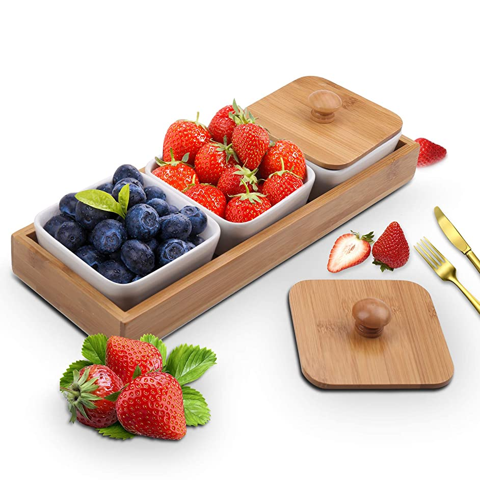Ceramic Snack Serving Bowl, 3-Compartment Serving Tray with Bamboo Lid and Pallets,Moisture-proof Bowls for Food,Snacks,Condiments, Appetizers(White)
