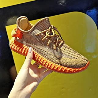2019 Summer and Autumn New Korean Sports Shoes Female Wild Students Running Flying Woven Women's Shoes Wild Casual Shoes Women (Color : Orange, Size : 39)