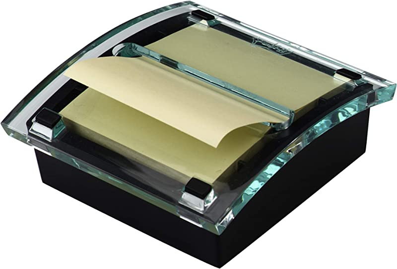 Post It Pop Up Note Dispenser Black Base Clear Top Designed To Work With Post It Pop Up Notes Classic Design Fits 3 In X 3 In Notes DS330 BK