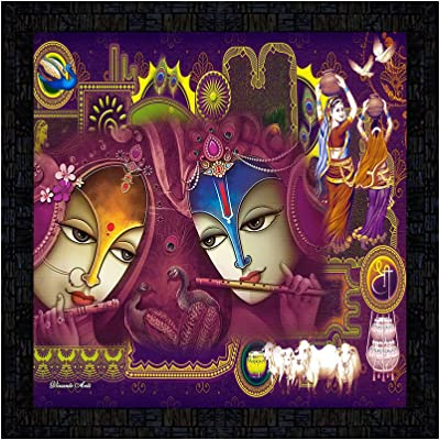 PnF Framed Poster of Radha Krishna Art Painting 16778-(13x13inch,Multicolour,Synthetic)