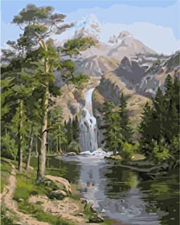 RIHE Paint by Numbers Kits DIY Oil Painting for Adults Kids Beginner- Stone Pines Landscape 16x20 Inches (Frameless)