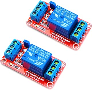 HiLetgo 2pcs DC 24V 1 Channel Relay Module with OPTO Isolation Support High or Low Le.
