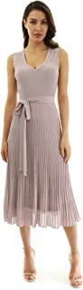 PattyBoutik Women V Neck Pleated Midi Knit Dress