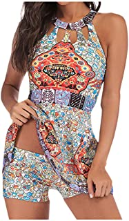 Women Plus Size Two Piece Swimsuit, Ladies Vintage Print Swimdress Beachwear Padded Swimwear