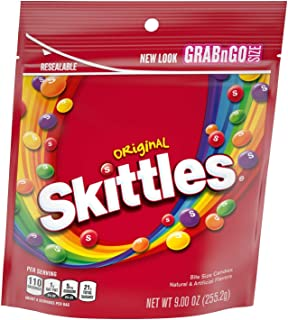 SKITTLES Original Fruity Candy, 9-Ounce Grab n Go Size Bag (New Version)