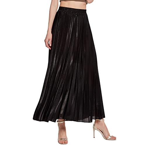 1e98a139fb7428 Chartou Women's Premium Metallic Shiny Shimmer Accordion Pleated Long Maxi  Skirt