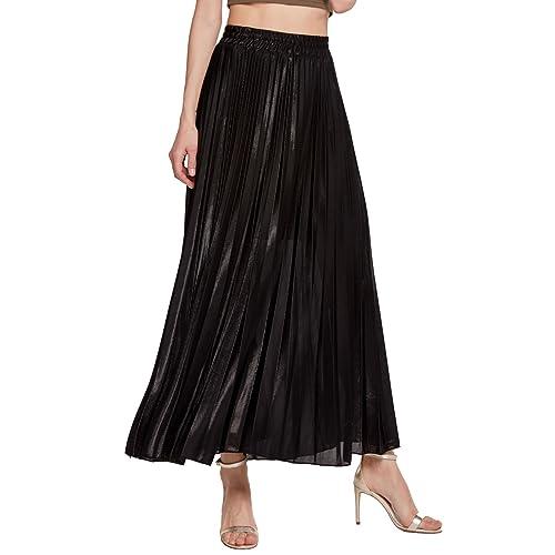 57d13a9b8a Chartou Women s Premium Metallic Shiny Shimmer Accordion Pleated Long Maxi  Skirt