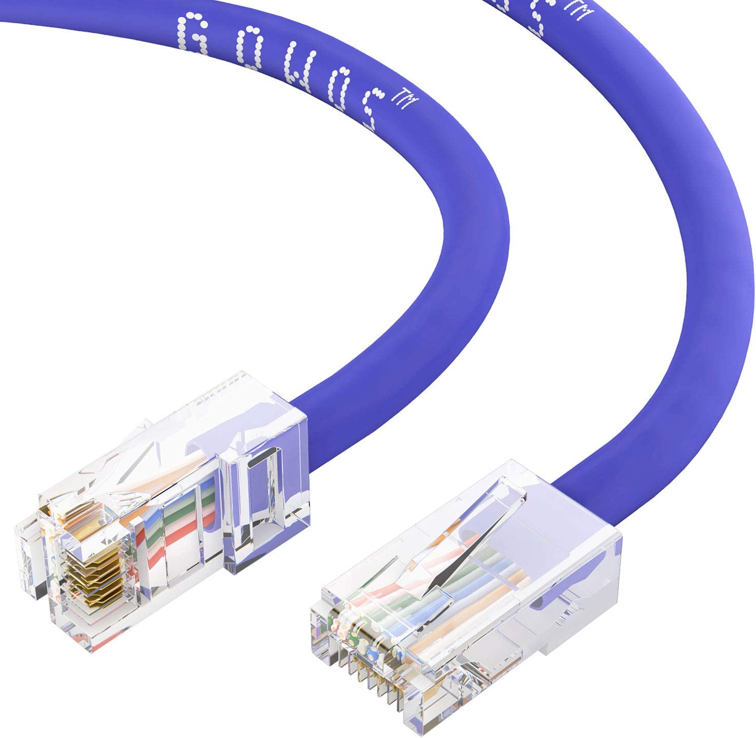 10 Gigabit//Sec High Speed LAN Internet//Patch Cable 24AWG Network Cable with Gold Plated RJ45 Non-Booted Connector GOWOS Cat6 Ethernet Cable 550MHz 20-Pack - 25 Feet Purple