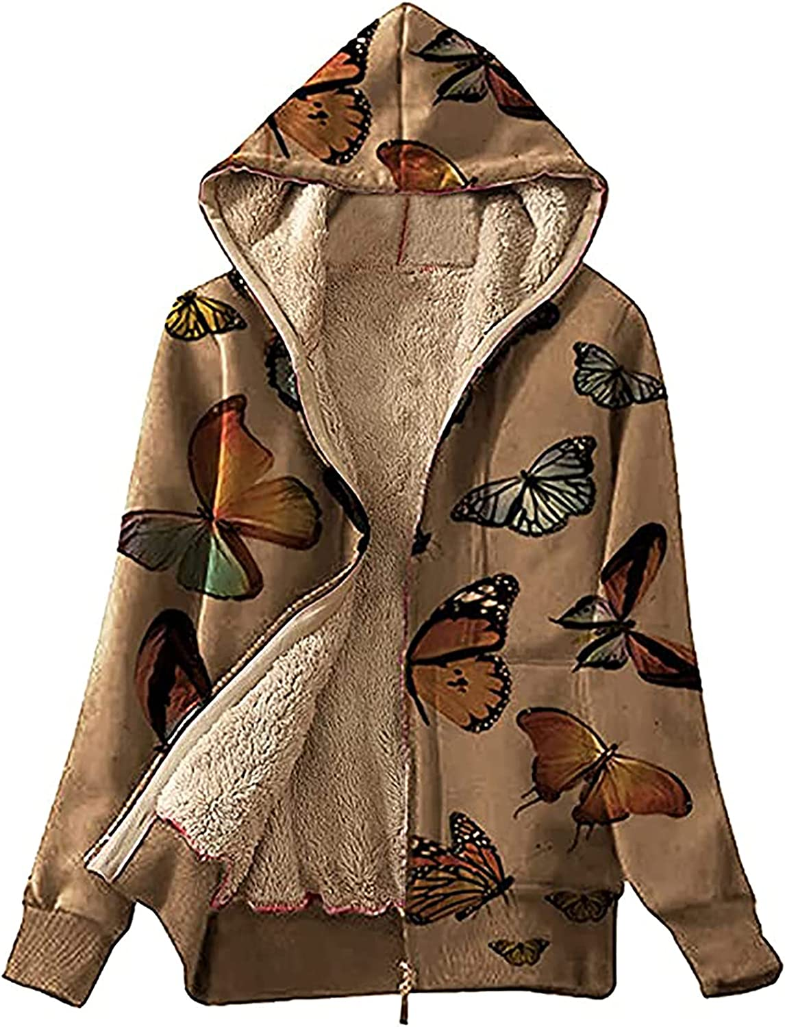 Women Hooded Coat Super beauty product restock quality top Fashion Butterfly Zipper Outw Loose Print Full Max 56% OFF