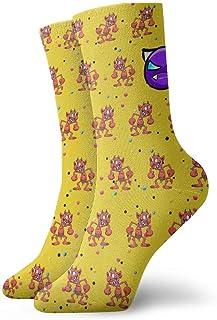 Kevin-Shop, Hombre de Dibujos Animados Divertidos y Calcetines de compresión de expresión Enojada púrpura Calcetines de Equipo, Calcetines Finos Tobillo Corto Absorción de Humedad atlética