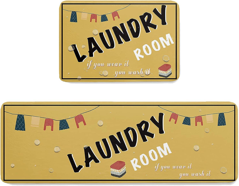 COLORSUM 2 Piece Non Slip Kitchen Set Room Laundry Mesa Mall Mat Clothes Ranking TOP10 B