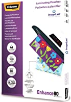 Fellowes 5306114 Pouches Di Plastificazione per Documenti, Formato A4, 80 Micron, Confezione da 100 Pezzi, 125 my