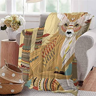 SSKJTC Digital Printing Blanket Animal Theme a Fluffy Wild Fox in The Forest and Tree Trunks Design Pattern Print Light Coffee Sofa Camping Reading Car Travel W57 xL74
