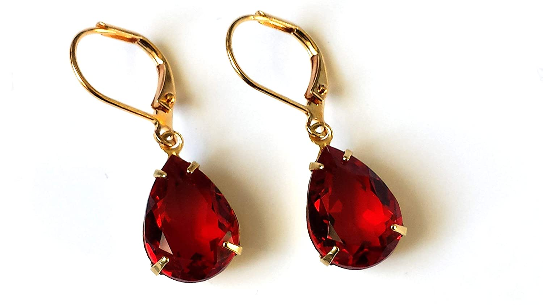 Swarovski Red Crystal Earrings Small Dan 2021 Max 68% OFF model Vintage Rhinestone Gold
