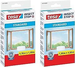 tesa Insect Stop STANDAARD vliegengaas voor ramen (1,3 m: 1,5 m (2 stuks), wit (lichte inkijkbescherming)