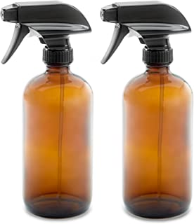16oz Empty Amber Dark Brown Glass Spray Bottles w/Labels and Caps (2 Pack) - Mist & Stream Trigger Sprayer - BPA Free - Bo...