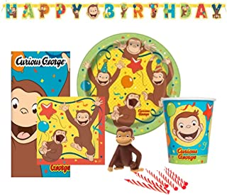 kedudes Birthday Party Set Supplies for 8 - Dessert Plates 8ct. Cups 8 ct. Napkins 8 ct. and Cake Topper & Birthday Candle Set (Full Set)