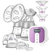 IKARE Double Breast Pumps Hospital Grade, Electric Portable Ultra Quiet Rechargeable Milk Pump with Comfortable 45 Strong Suction Levels, Perfect Breastfeeding Pump for Moms on The go