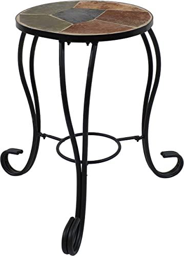 wholesale Sunnydaze Plant Stand - Indoor or Outdoor Plant Holder or Side Table - Slate Tile Top with sale Steel Frame outlet online sale - for Garden, Patio, or Inside The Home - 12-Inch online sale