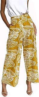BTFBM Women's Casual Floral Print High Waist Wide Leg...