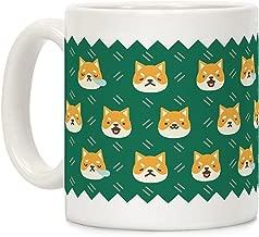 LookHUMAN Shiba Inu Emoji Mug White 11 Ounce Ceramic Coffee Mug